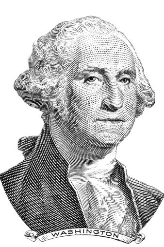 A Portrait Of George Washington In Black And White Stock