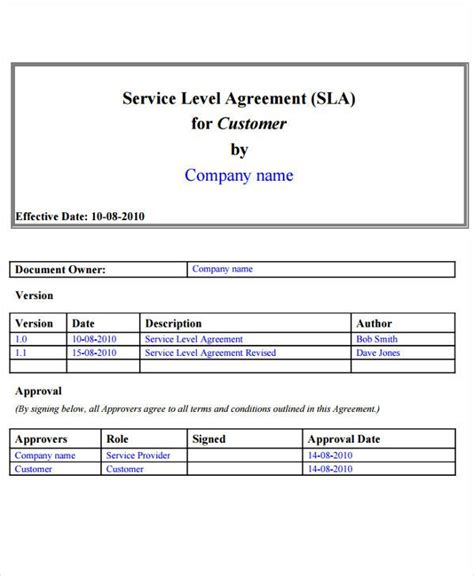service level agreement templates  word  documents   premium