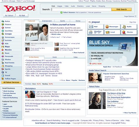 Home Page by Yet Another Yahoo Home Page Redesign 187 Uie Brain Sparks