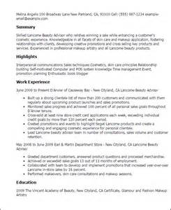 Lancome Advisor Sle Resume professional lancome advisor templates to showcase your talent myperfectresume