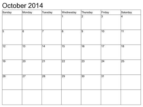 printable weekly calendar october 2014 8 best images of printable monthly calendar october 2014