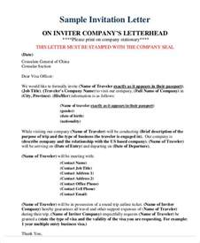 Invitation Letter For Visa Sle Doc Letter To Consulate For Business Visa 28 Images 10 Letter Of Employment Templates Free Sle