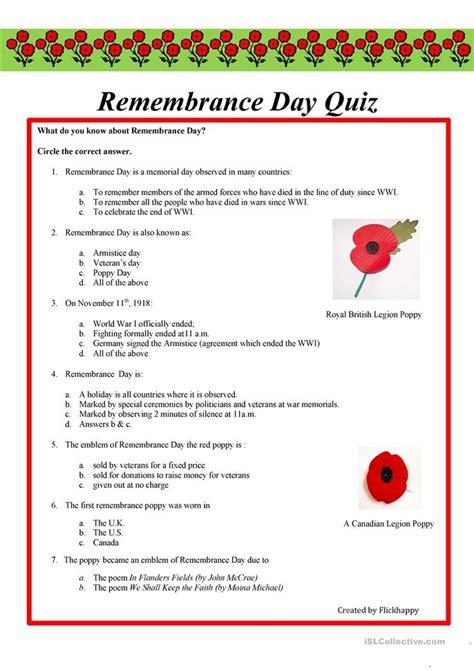 a s day quiz worksheet free esl printable remembrance day quiz worksheet free esl printable