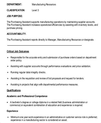 purchasing assistant description 9 purchasing assistant description sles sle