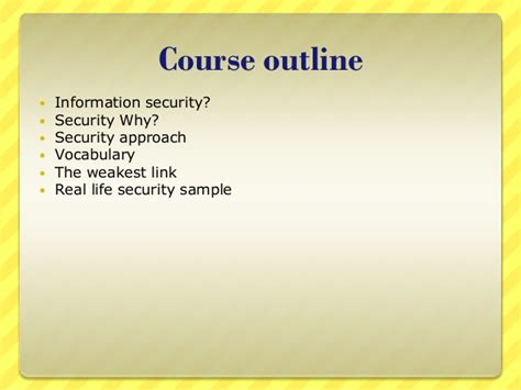 Local Government Course Outline by Information Security For Dummies