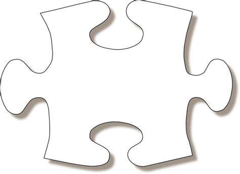 jigsaw white puzzle piece large shadow clip art at clker