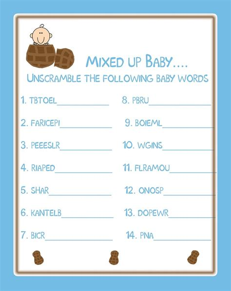 Unscramble Baby Shower Words by Baby Shower Words Scrambles Printable Activity Shelter