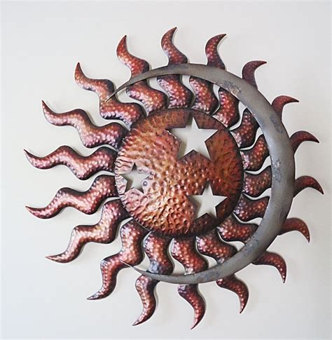 sun sculpture celestial sun moon stars wall art large metal indoor