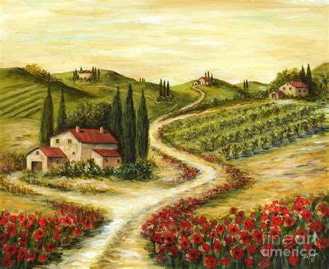 Landscape Print Tuscan Road With Poppies Painting By Marilyn Dunlap