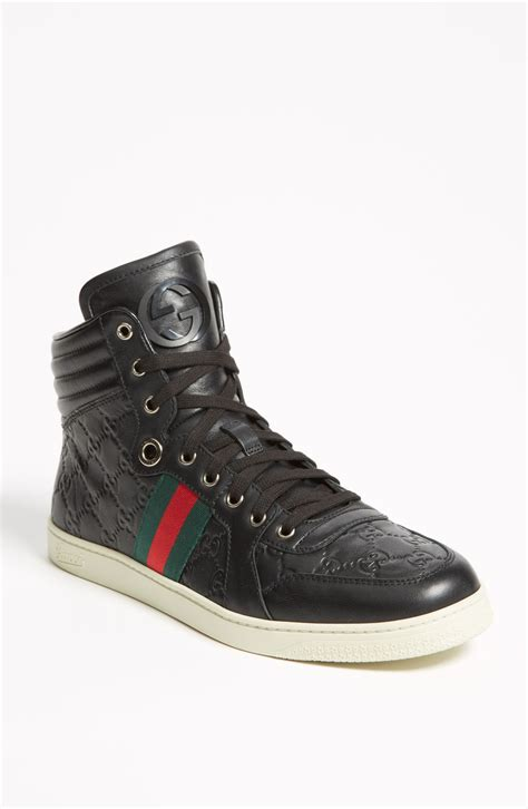 gucci sneakers gucci brown ssima leather high top sneaker in black for