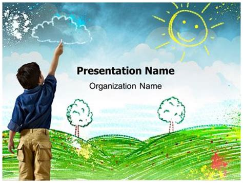 Child Drawing Powerpoint Template Background Subscriptiontemplates Com Free Child Care Powerpoint Templates