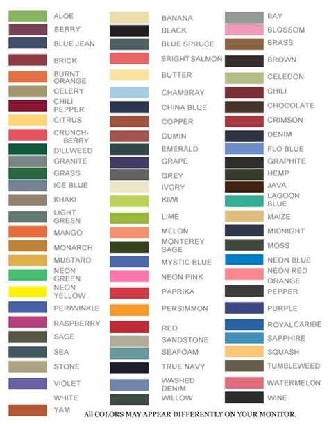 comfort colors colors chart comfort colors t shirt chart tee colors craft ideas