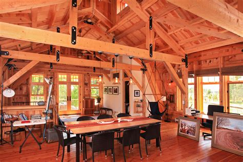 Gambrel Cabin Plans elegant barn homes with covered porch and upper deck 6