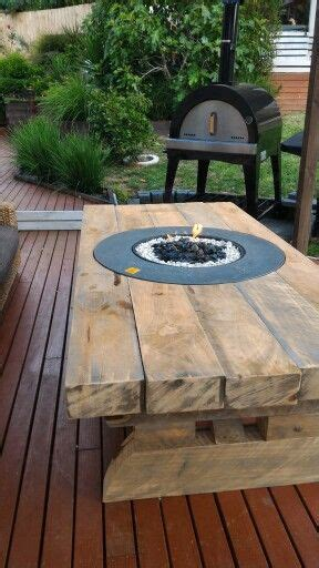diy firepit table diy rustic table made from railway sleepers with pit