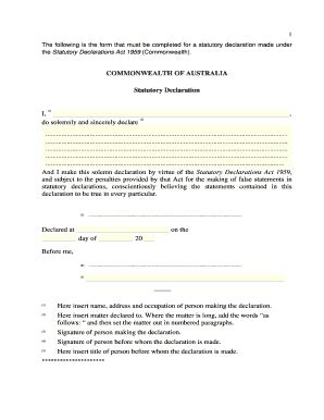 statutory declaration template name change statutory declaration form templates fillable