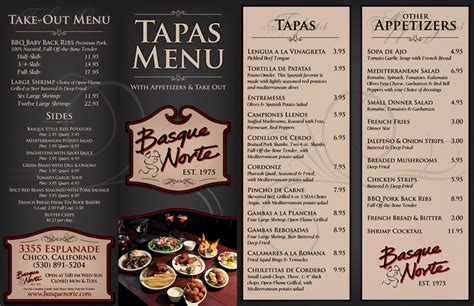 basque norte tapas menu carta restaurante pinterest