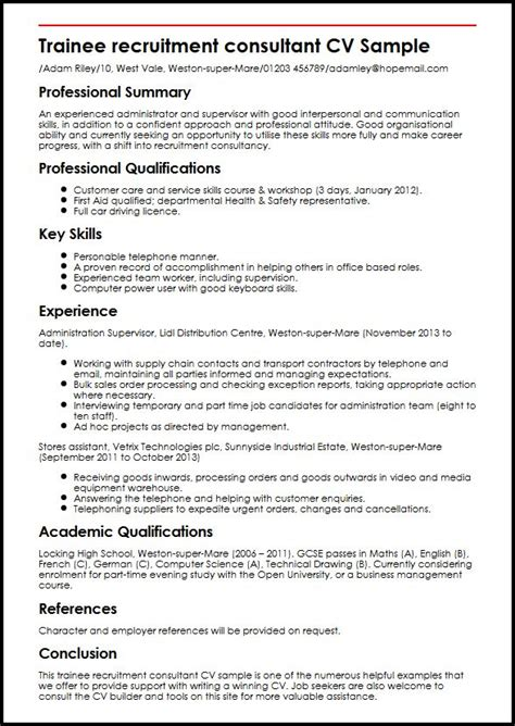 Resume Samples Career Change by Trainee Recruitment Consultant Cv Sample Myperfectcv