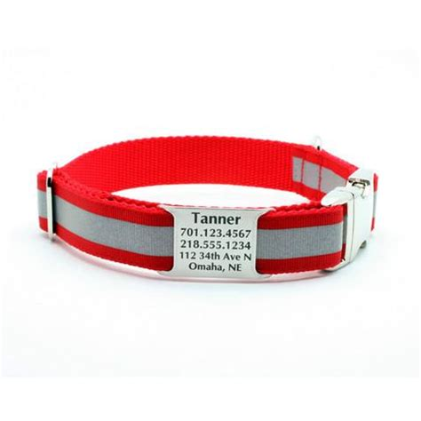 personalized reflective collars reflective collar with built in personalized nameplate flying collars