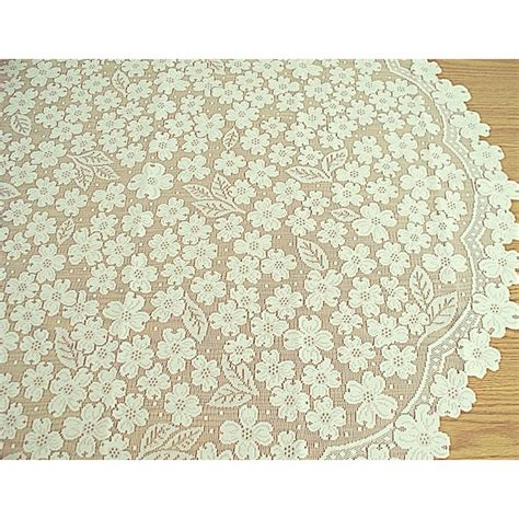 table topper dogwood 42 inch ecru heritage lace