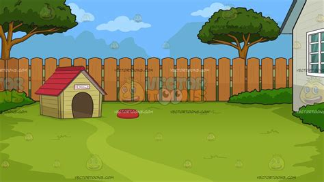 dog in the backyard a dog house in the backyard background cartoon clipart