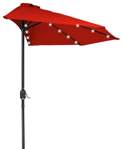 Half Patio Umbrella 9 Patio Led Half Umbrella Led Solar Powered Outdoor Umbrellas By Trademark Innovations