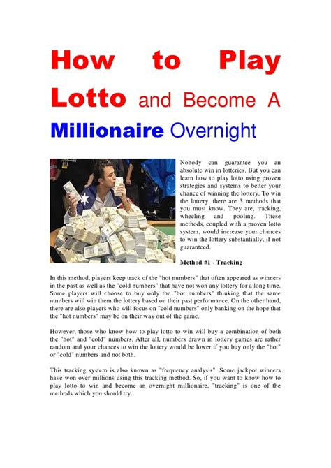 Can You Become A Millionaire With An Mba by How To Play Lotto And Become A Millionaire Overnight
