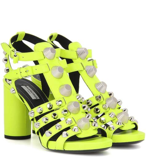 balenciaga arena heeled leather sandals jauee fluo modesens