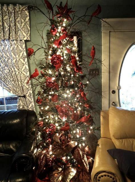 beautiful red cardinal theme christmas tree ornaments