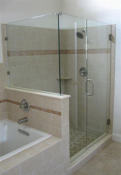framless shwr door n 2 panel 90 degree on wall tub deck