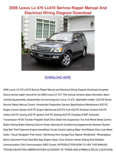 2006 lexus lx 470 lx470 serivce repair manual by cassondra santanna issuu