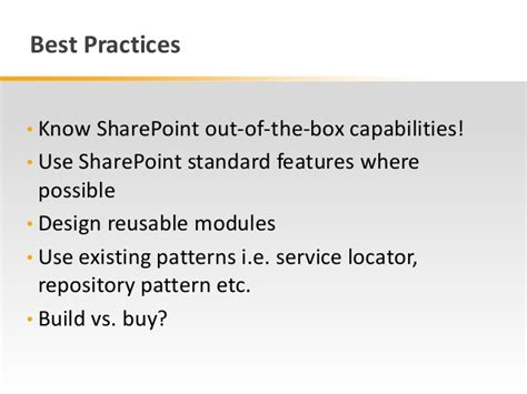 Repository Pattern Best Practices | best practices for sharepoint application lifecycle