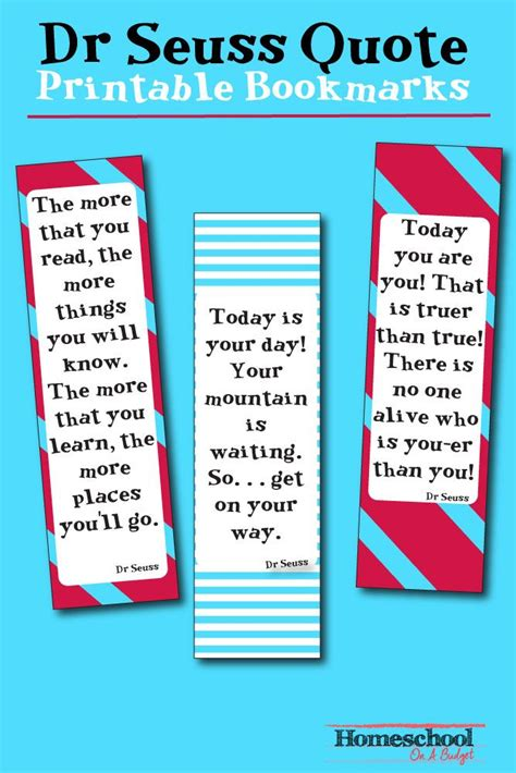 printable bookmarks with quotes from books celebrate dr seuss birthday or anyway with these free dr