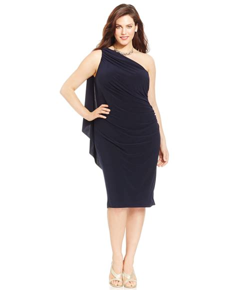 lyst betsy adam plus size one shoulder ruched dress in blue