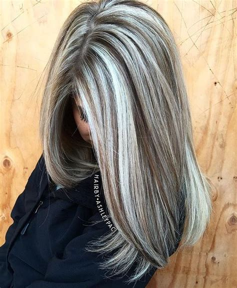 silver white hair with brown lowlights for when i m old and grey hair make up pinterest