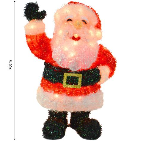70cm light up tinsel standing waving hand santa festive