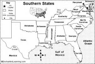southern us map with states and capitals southern states map quiz printout enchantedlearning