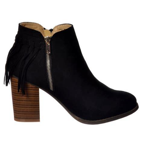 shoekandi tassel and fringe suede cuban heel ankle boot