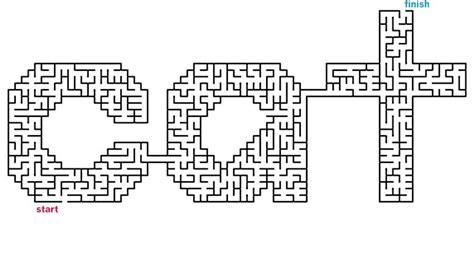 printable cat maze mazes to print word mazes