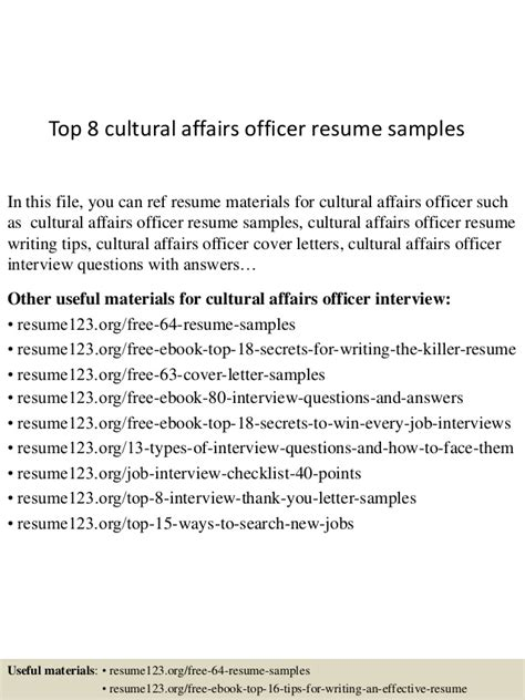 Cultural Affairs Officer Sle Resume top 8 cultural affairs officer resume sles