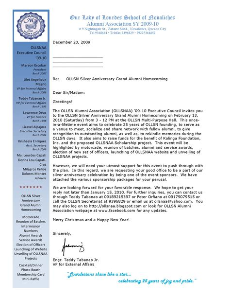 thank you letter after alumni meet ollsn alumni homecoming sponsorship letter by ollsn alumni