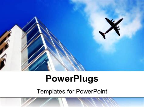 Powerpoint Template Skyscraper With Large Windows And Flying Plane On The Light Blue Sky 1376 Airplane Powerpoint Template
