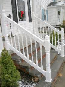 vinyl porch railing with turned spindles amp turned posts by elyria fence