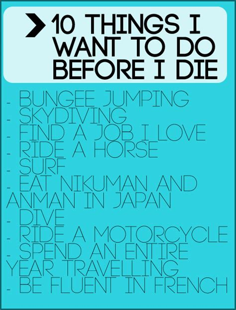 Things I by 10 Things I Want To Do Before I Die Random Cath