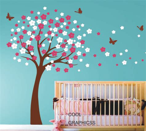 Tree Wall Decals For Nursery Etsy Blooming Cherry Tree Wall Decals Nursery Wall Decal Children