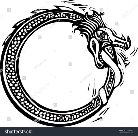 woodcut style image viking norse midgard stock vector