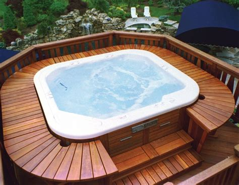 patio interior jacuzzi wood deck designs for hot tubs