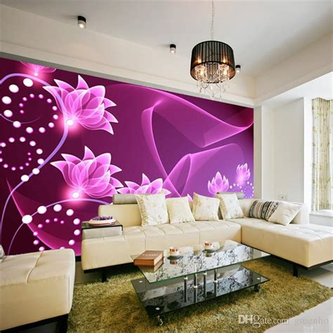 purple wallpaper for bedroom walls fashion wall mural purple flowers photo wallpaper dazzles