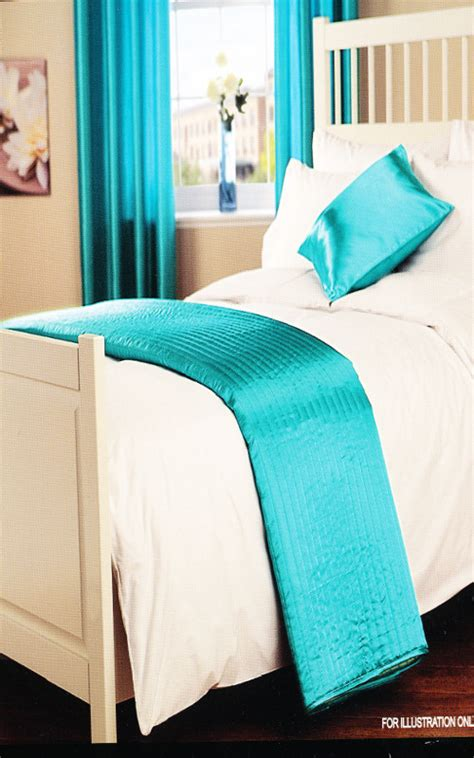 Teal Quilted Bedspread Satin Silk Look Quilted Bedspread Throw Teal