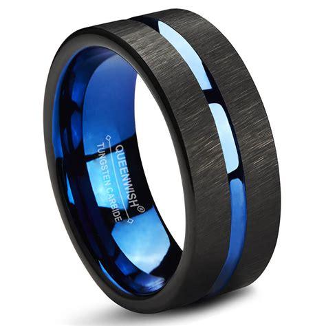 Wedding Bands Tungsten Carbide by Queenwish Blue Black Tungsten Carbide Wedding Band 8mm
