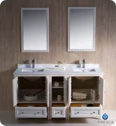 "Fresca Oxford 60"" Double Sink Traditional Bathroom Vanity"